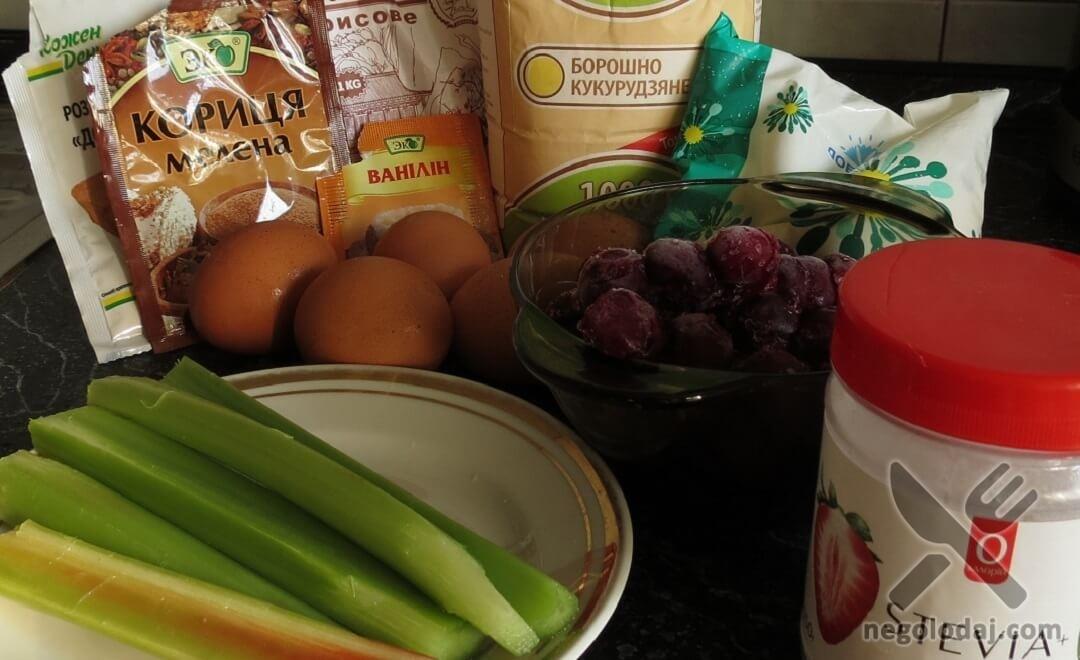 Ингредиенты для пирога с вишней и ревенем