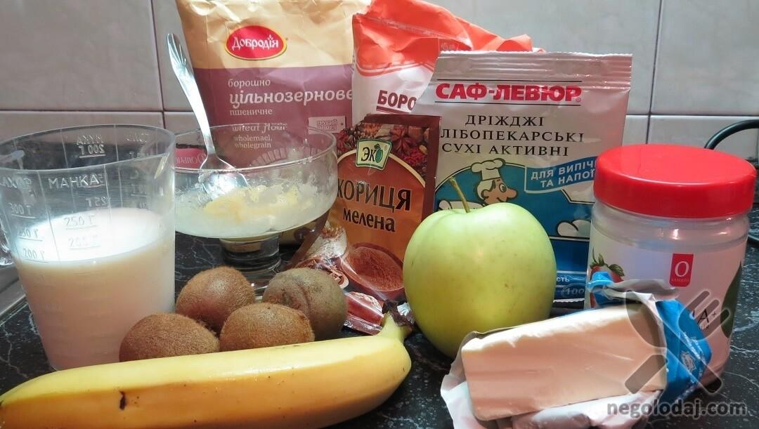 Ингредиенты для булочек с киви и яблоком