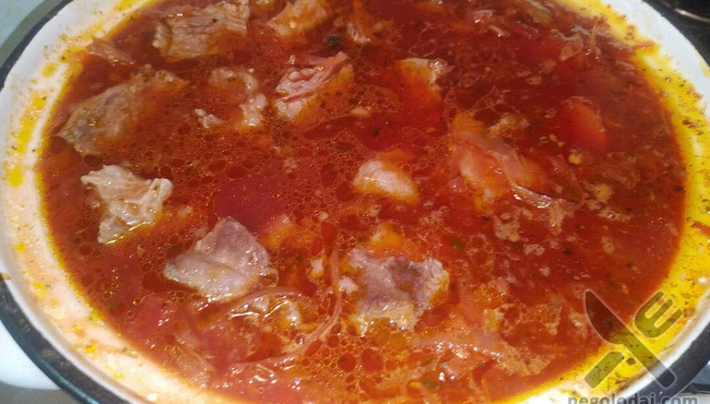 Красный борщ с мясом рецепет