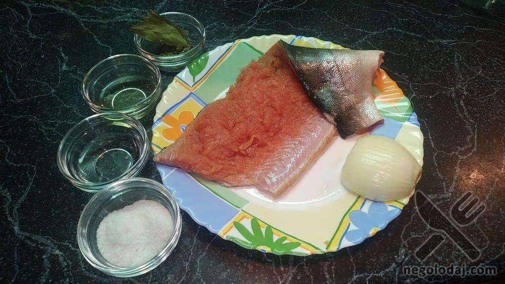 Ингредиенты для маринованной красной рыбы