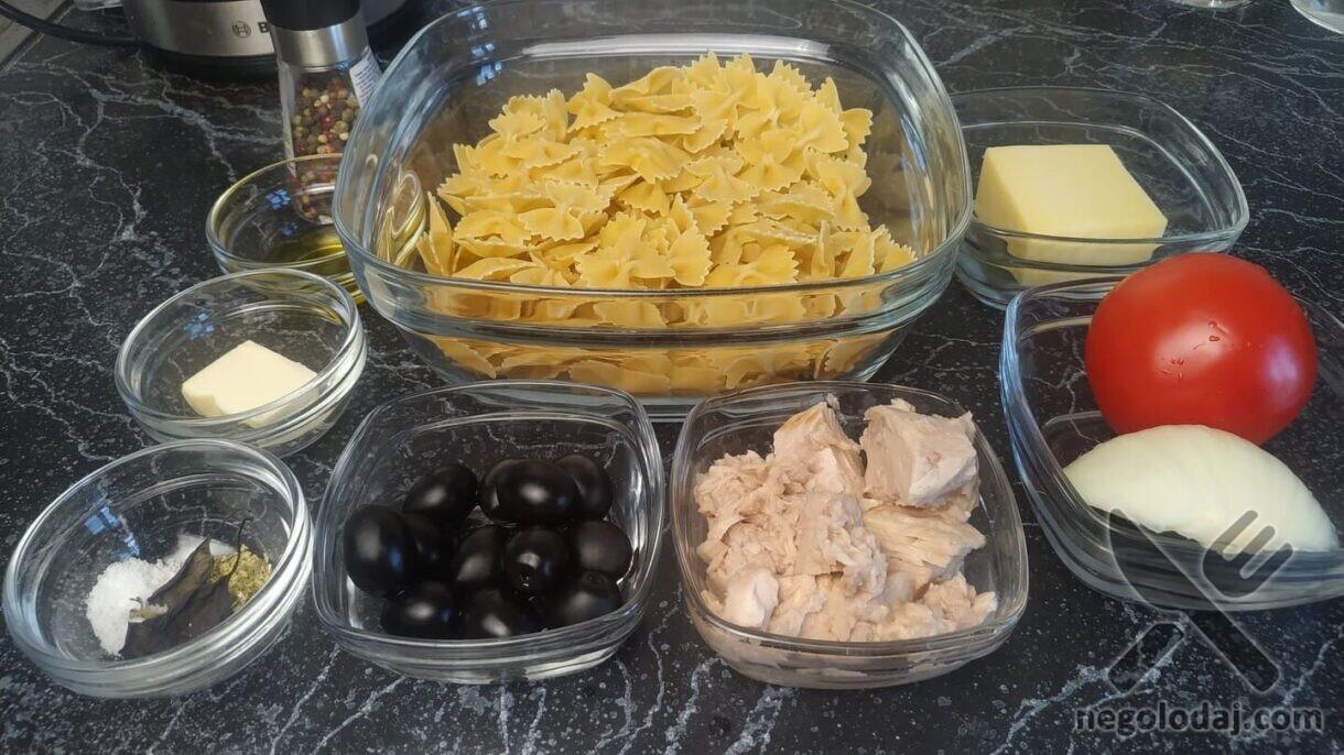 Ингредиенты для пасты с тунцом